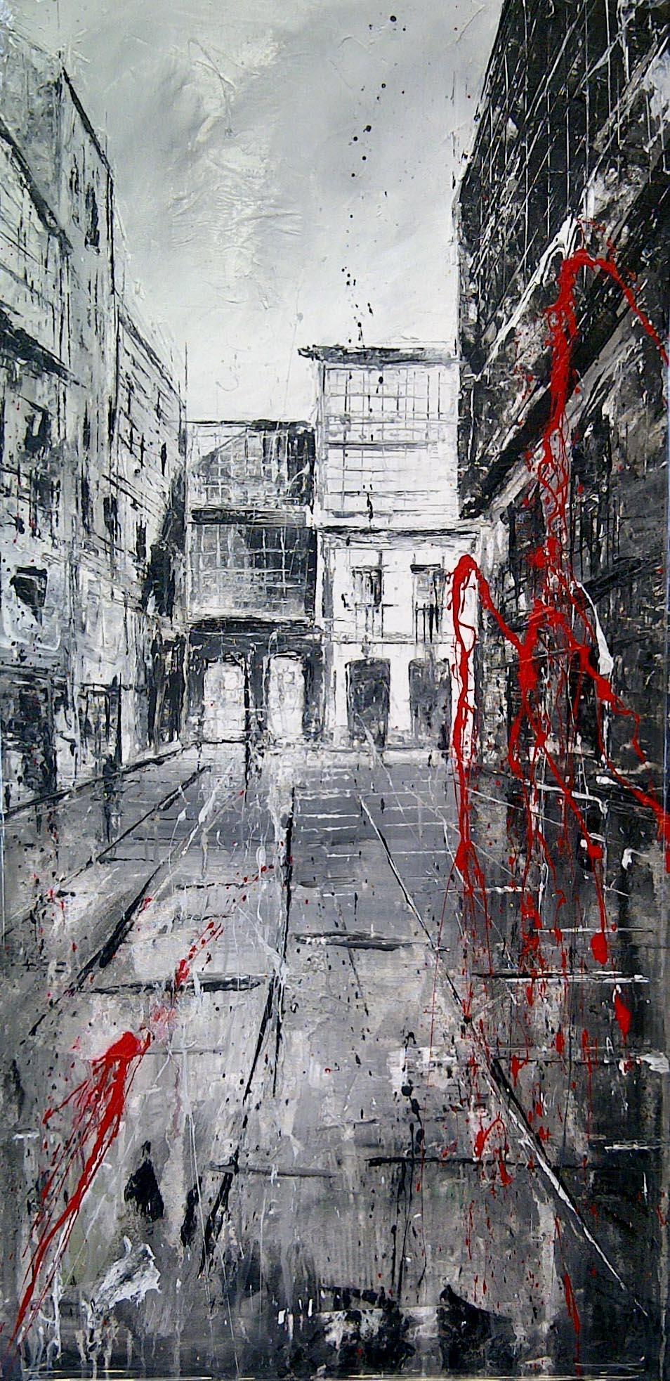 614_riego de agua_50x100cm_mixed on canvas