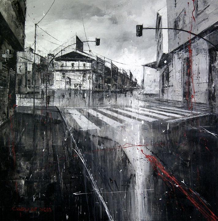 698_campo de noia_100x100cm_mixed on canvas