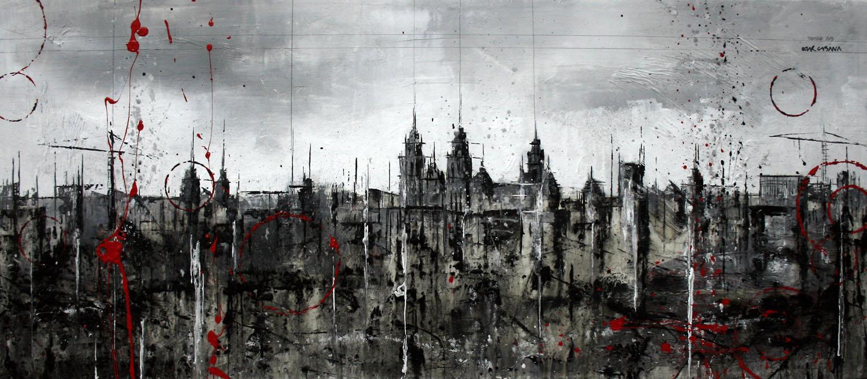 746_santiago skyline_90x40cm_mixed on canvas