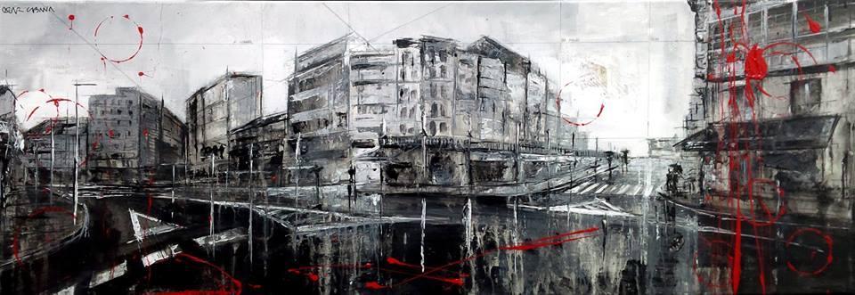 788_plaza de españa_92x32cm_mixed on canvas