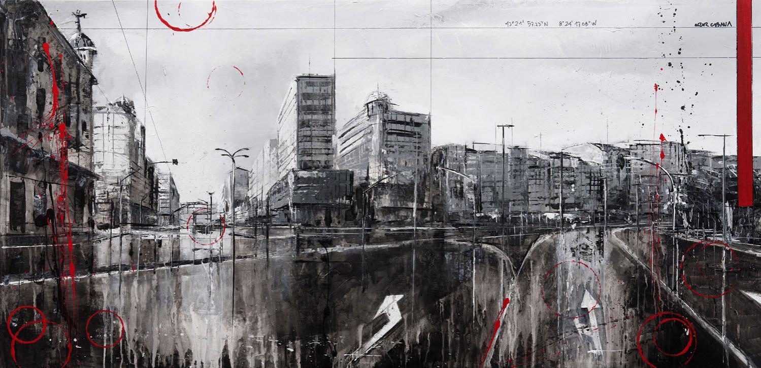 801_plaza de mina_100x50cm_mixed on canvas