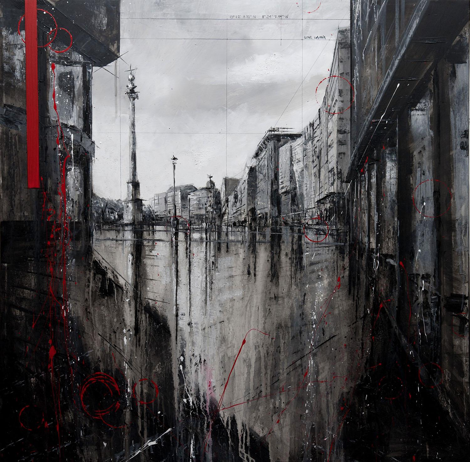 807_calle real_95x95cm_mixed on canvas