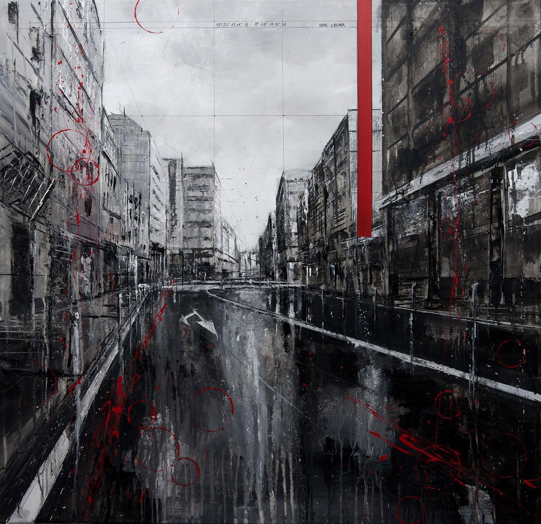 808_calle san andrés_95x95cm_mixed on canvas