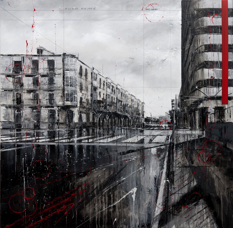 809_plaza de lugo_95x95cm_mixed on canvas