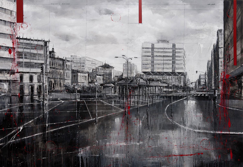 814_plaza de pontevedra_200x140cm_mixed on canvas