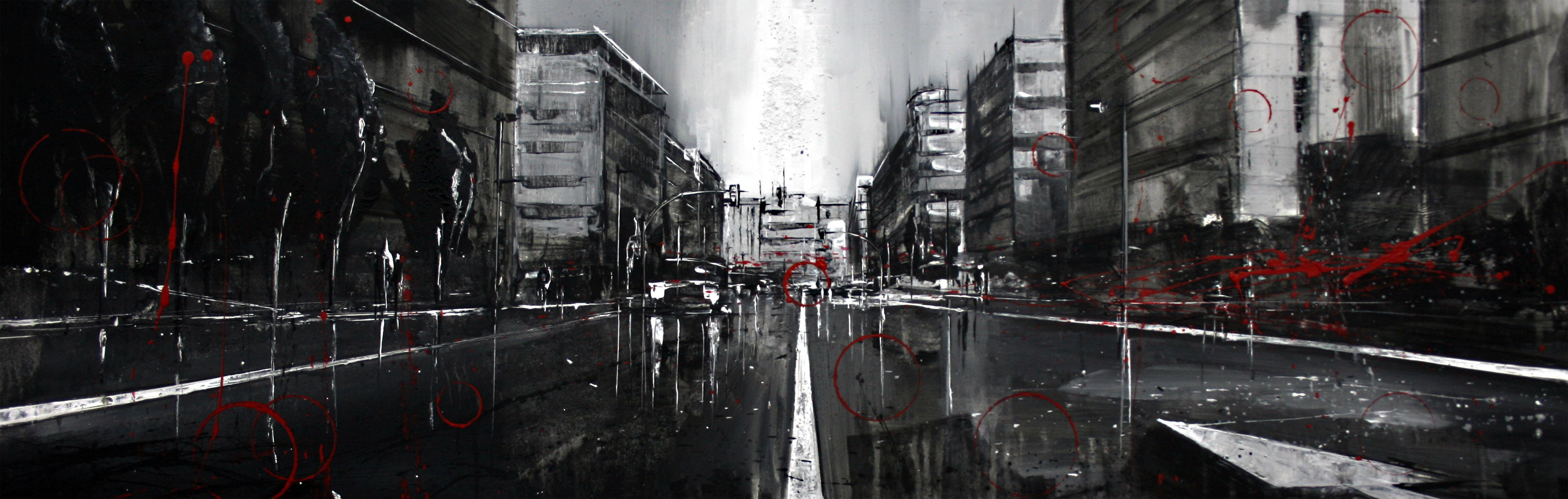 855_avenida de catalunya_120x40cm_mixta sobre lienzo
