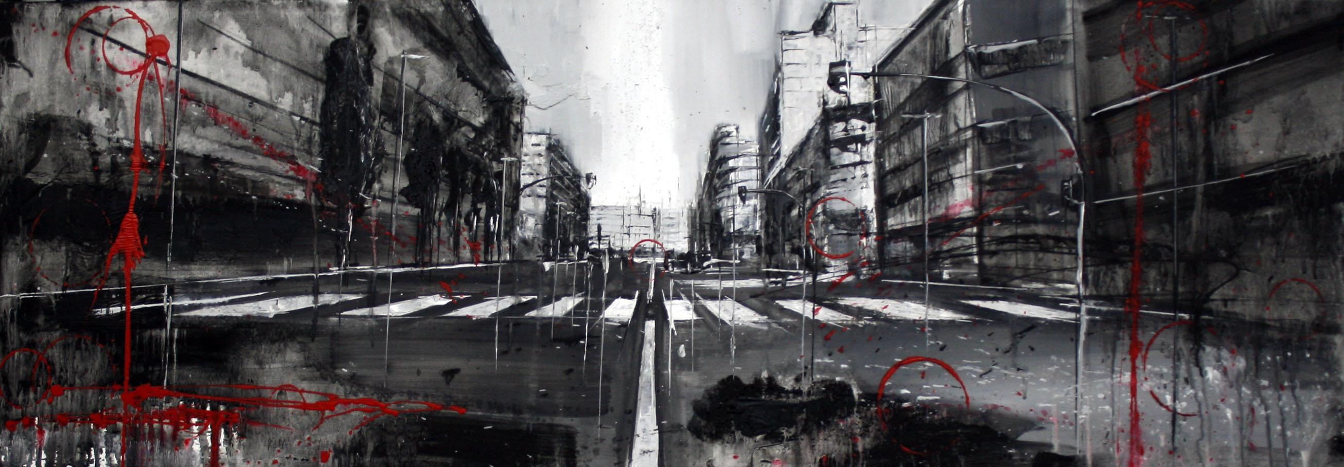 856_avenida de catalunya_120x40cm_mixta sobre lienzo