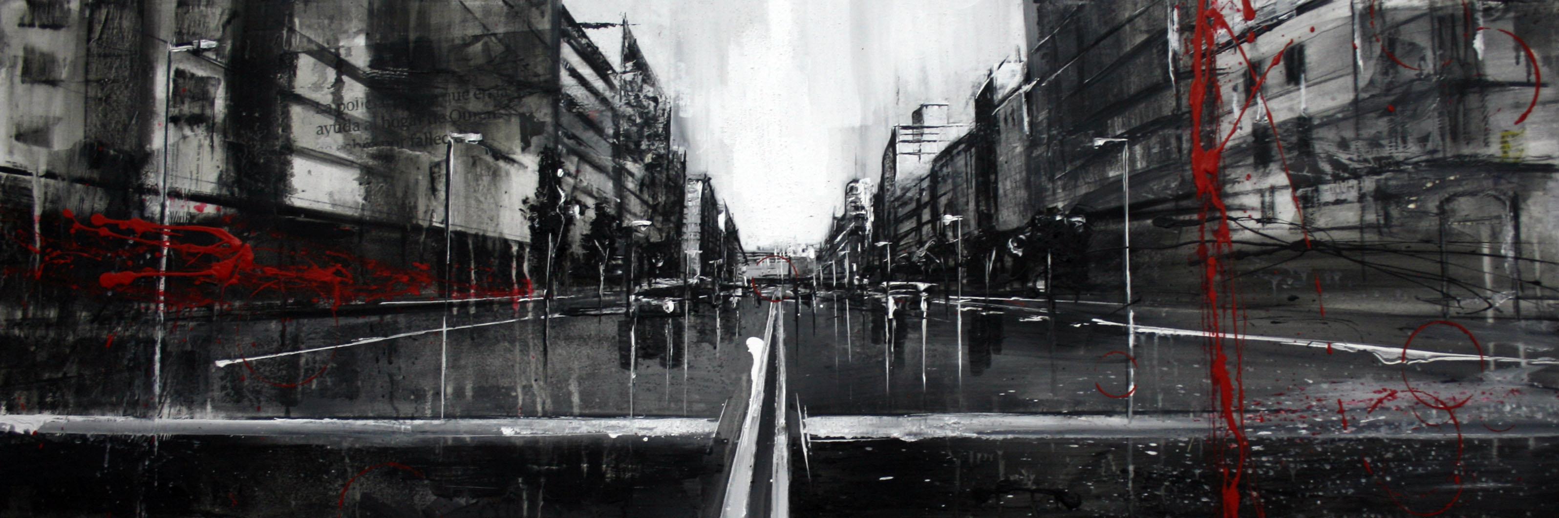 857_avenida de catalunya_120x40cm_mixta sobre lienzo