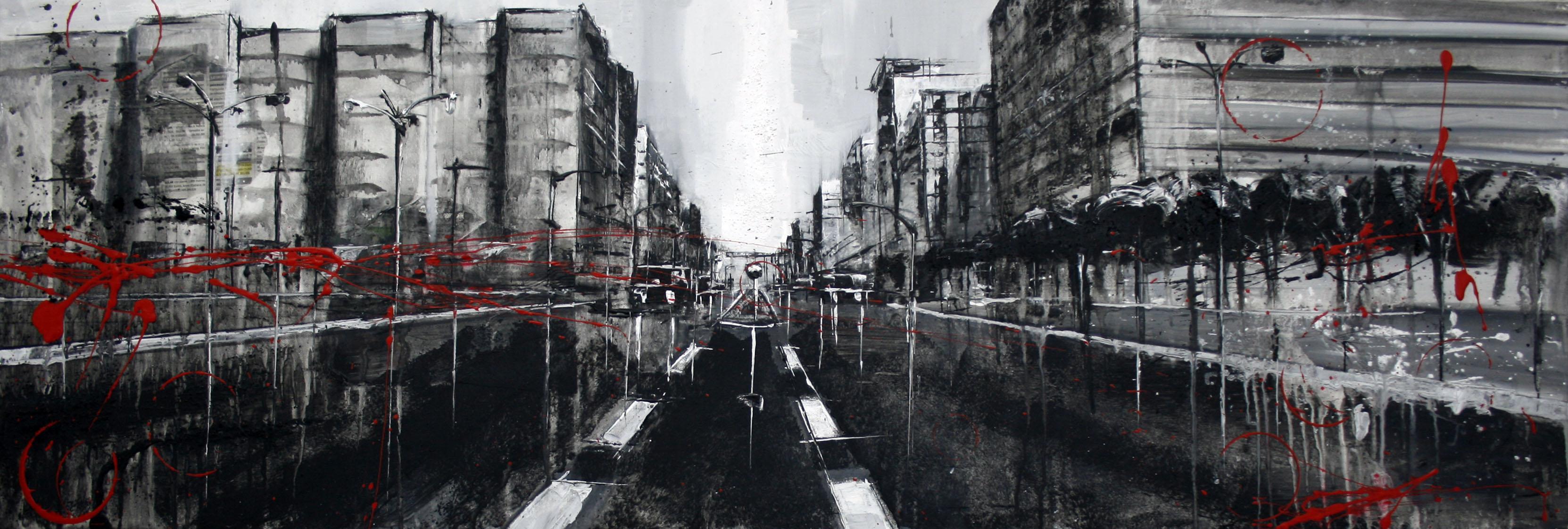 858_avenida de catalunya_120x40cm_mixta sobre lienzo