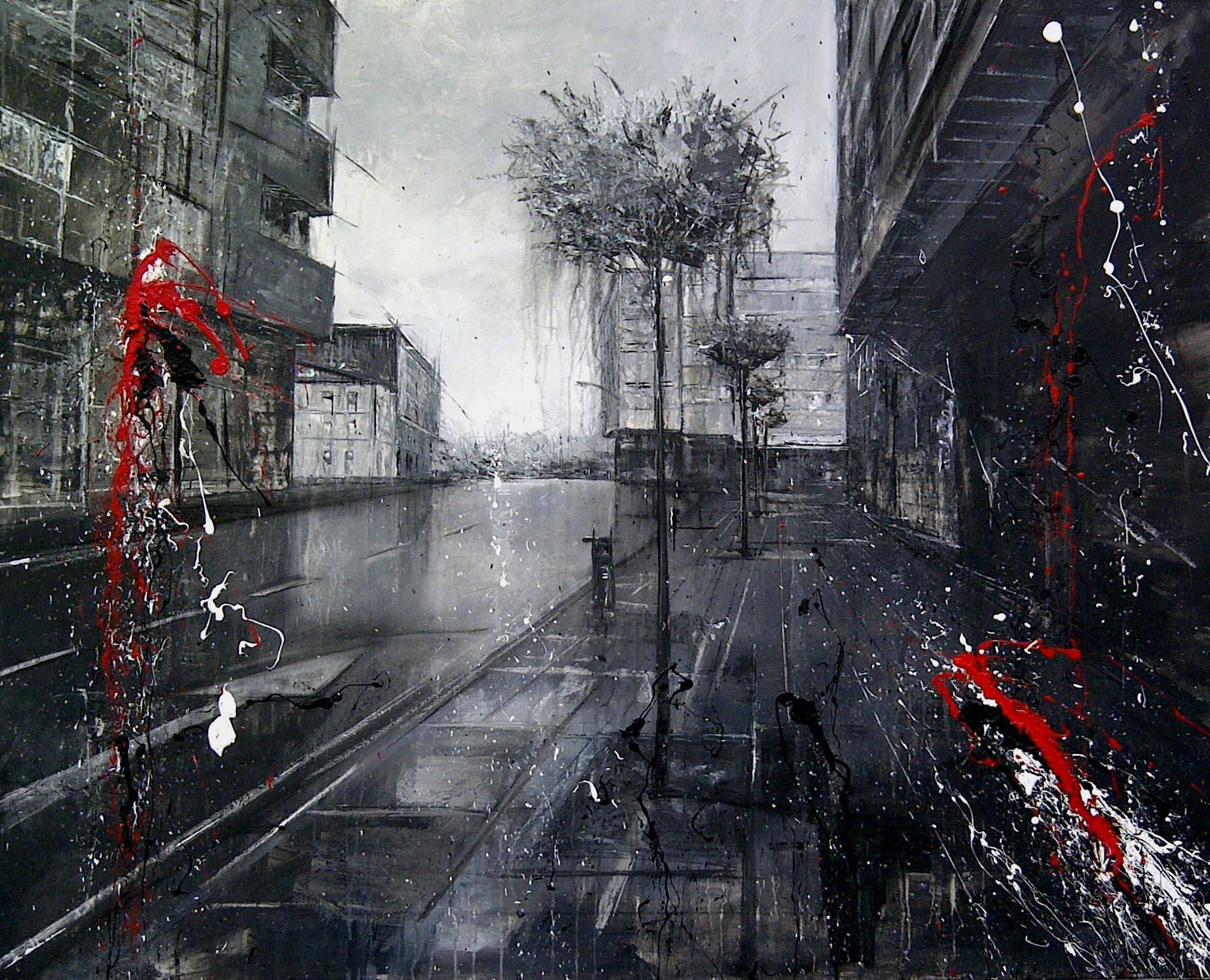 rúa carreiriñas_120x100cm_mixed on canvas